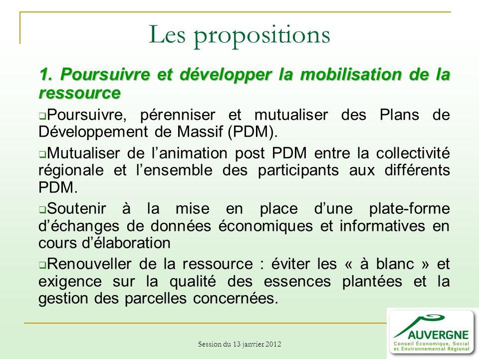 Session du 13 janvier 2012 Les propositions 1.