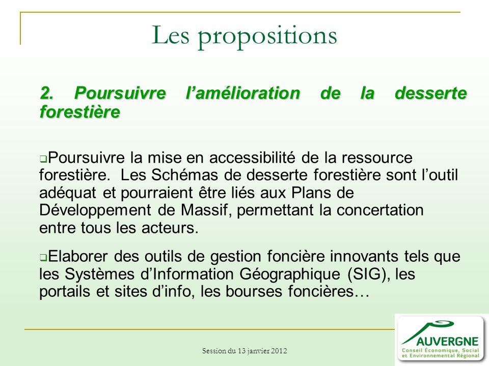 Session du 13 janvier 2012 Les propositions 2.