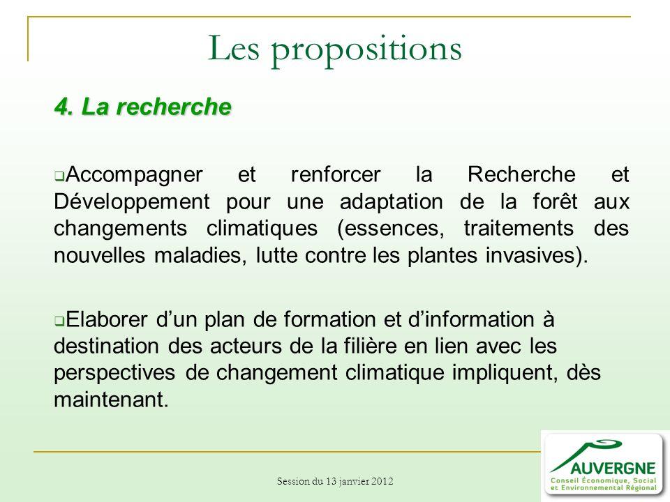 Session du 13 janvier 2012 Les propositions 4.