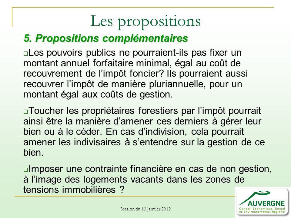 Session du 13 janvier 2012 Les propositions 5.