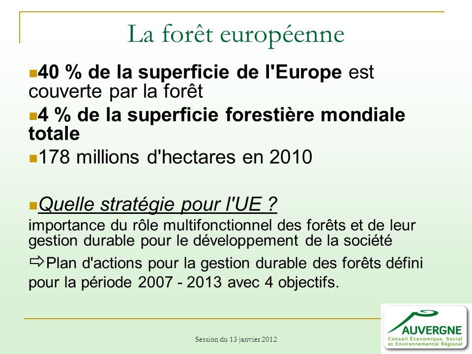 Session du 13 janvier 2012 La forêt européenne 40 % de la superficie de l Europe est couverte par la forêt 4 % de la superficie forestière mondiale totale 178 millions d hectares en 2010 Quelle stratégie pour l UE .