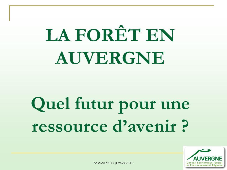 Session du 13 janvier 2012 LA FORÊT EN AUVERGNE Quel futur pour une ressource davenir ?