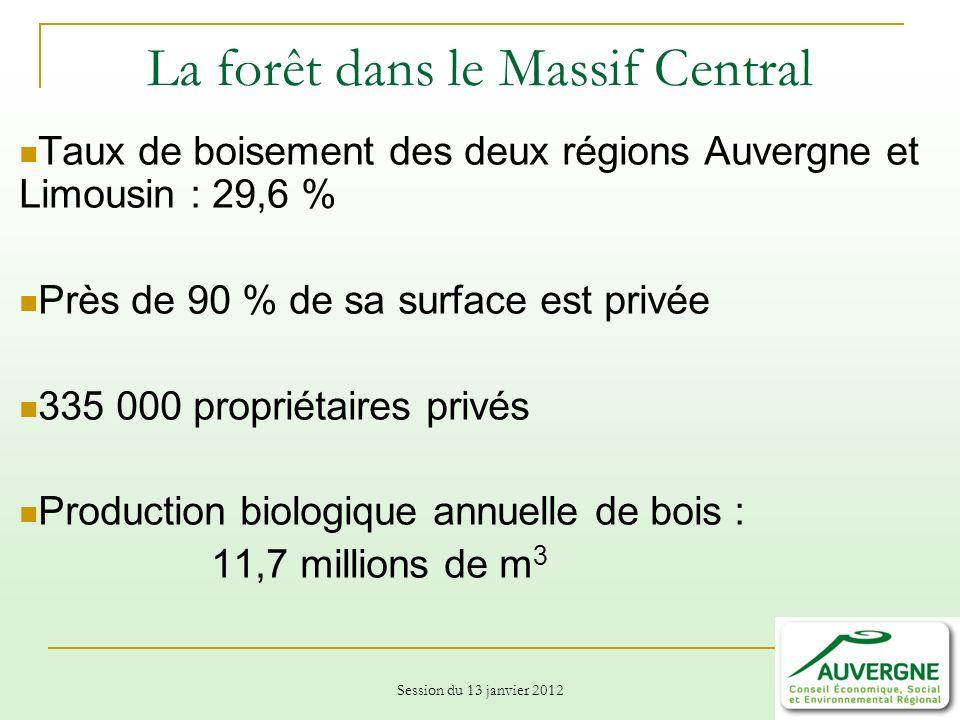 Session du 13 janvier 2012 La forêt dans le Massif Central Taux de boisement des deux régions Auvergne et Limousin : 29,6 % Près de 90 % de sa surface est privée 335 000 propriétaires privés Production biologique annuelle de bois : 11,7 millions de m 3
