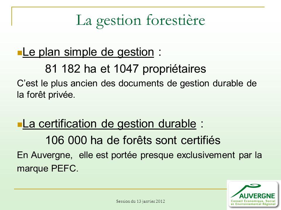 Session du 13 janvier 2012 La gestion forestière Le plan simple de gestion : 81 182 ha et 1047 propriétaires Cest le plus ancien des documents de gestion durable de la forêt privée.