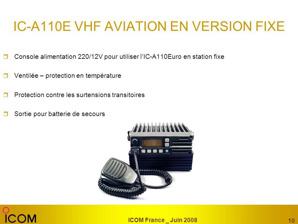 ICOM France _ Juin 2008 10 IC-A110E VHF AVIATION EN VERSION FIXE Console alimentation 220/12V pour utiliser lIC-A110Euro en station fixe Ventilée – pr