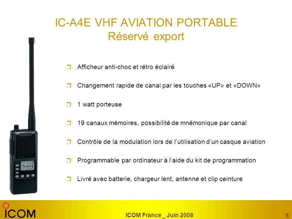 ICOM France _ Juin 2008 5 IC-A4E VHF AVIATION PORTABLE Réservé export Afficheur anti-choc et rétro éclairé Changement rapide de canal par les touches