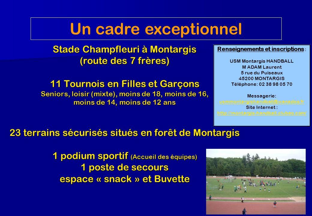 Stade Champfleuri à Montargis (route des 7 frères) 11 Tournois en Filles et Garçons Seniors, loisir (mixte), moins de 18, moins de 16, moins de 14, mo