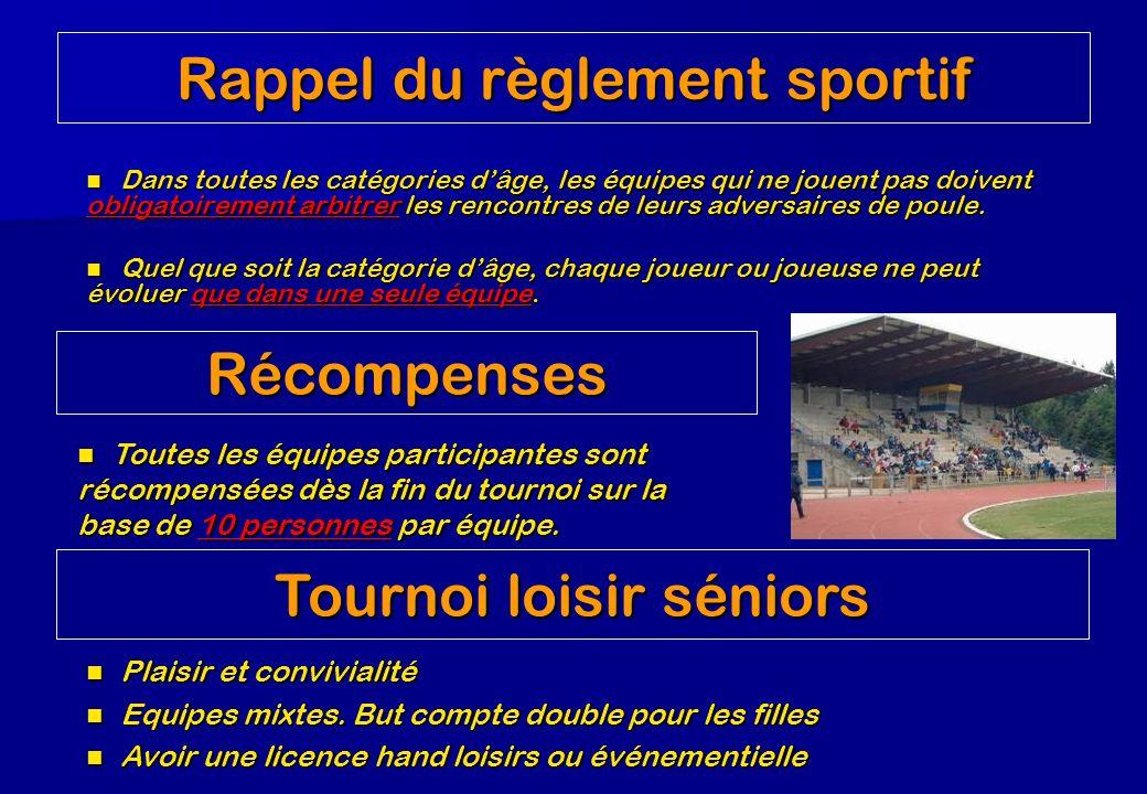 Rappel du règlement sportif Dans toutes les catégories dâge, les équipes qui ne jouent pas doivent obligatoirement arbitrer les rencontres de leurs adversaires de poule.