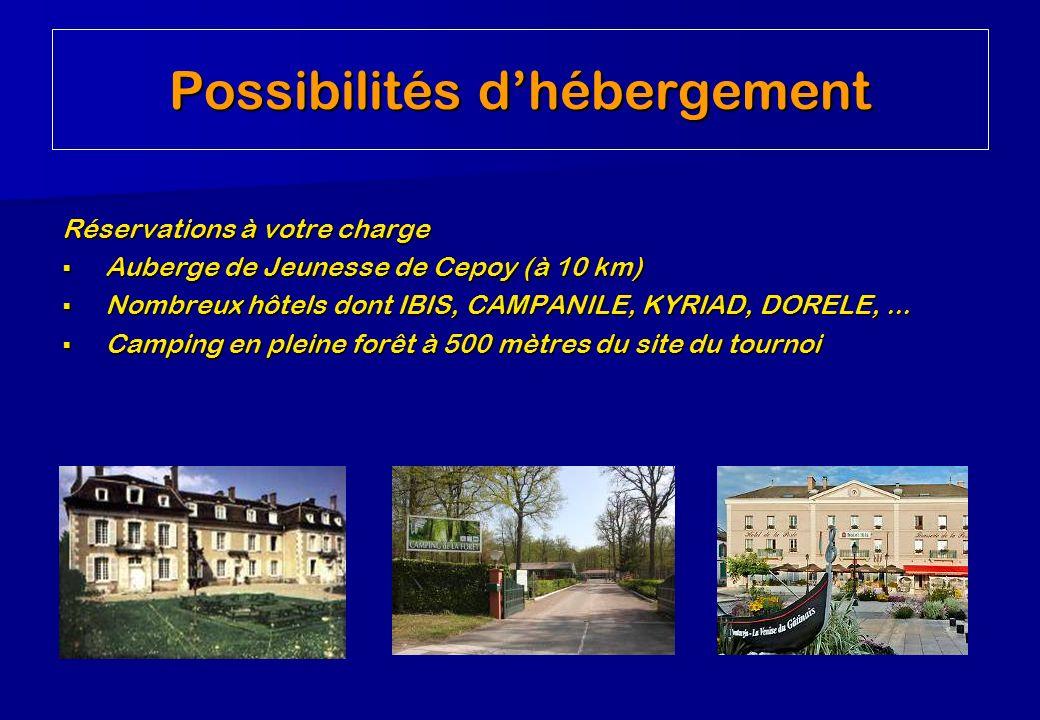 Réservations à votre charge Auberge de Jeunesse de Cepoy (à 10 km) Auberge de Jeunesse de Cepoy (à 10 km) Nombreux hôtels dont IBIS, CAMPANILE, KYRIAD