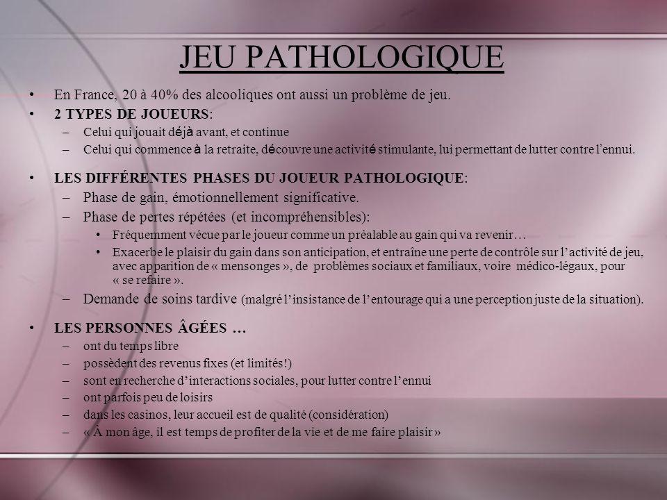 JEU PATHOLOGIQUE En France, 20 à 40% des alcooliques ont aussi un problème de jeu.