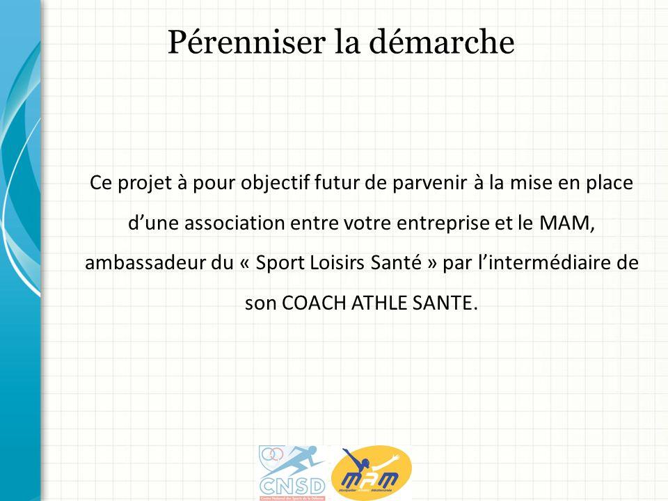 Ce projet à pour objectif futur de parvenir à la mise en place dune association entre votre entreprise et le MAM, ambassadeur du « Sport Loisirs Santé