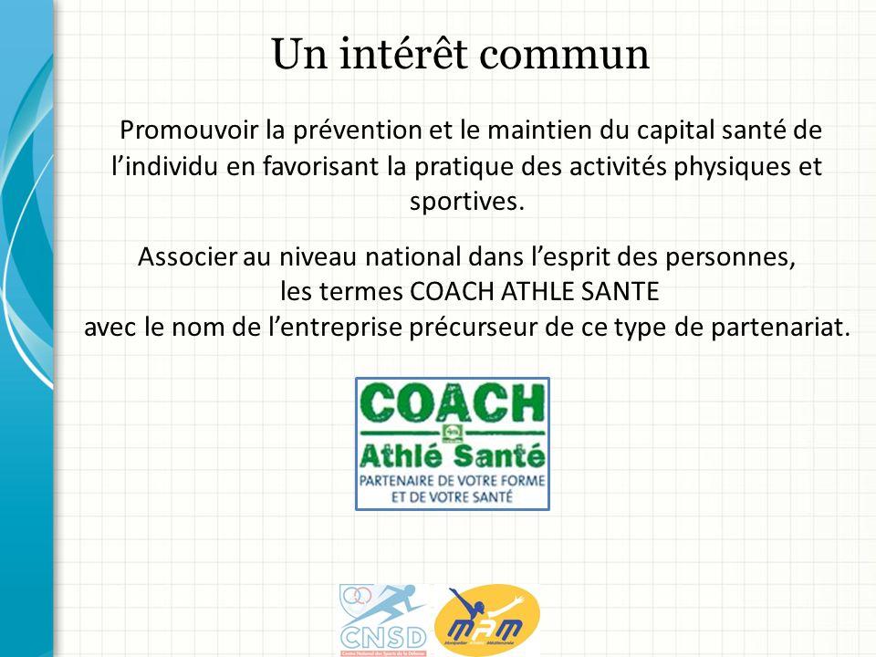 Un intérêt commun Promouvoir la prévention et le maintien du capital santé de lindividu en favorisant la pratique des activités physiques et sportives