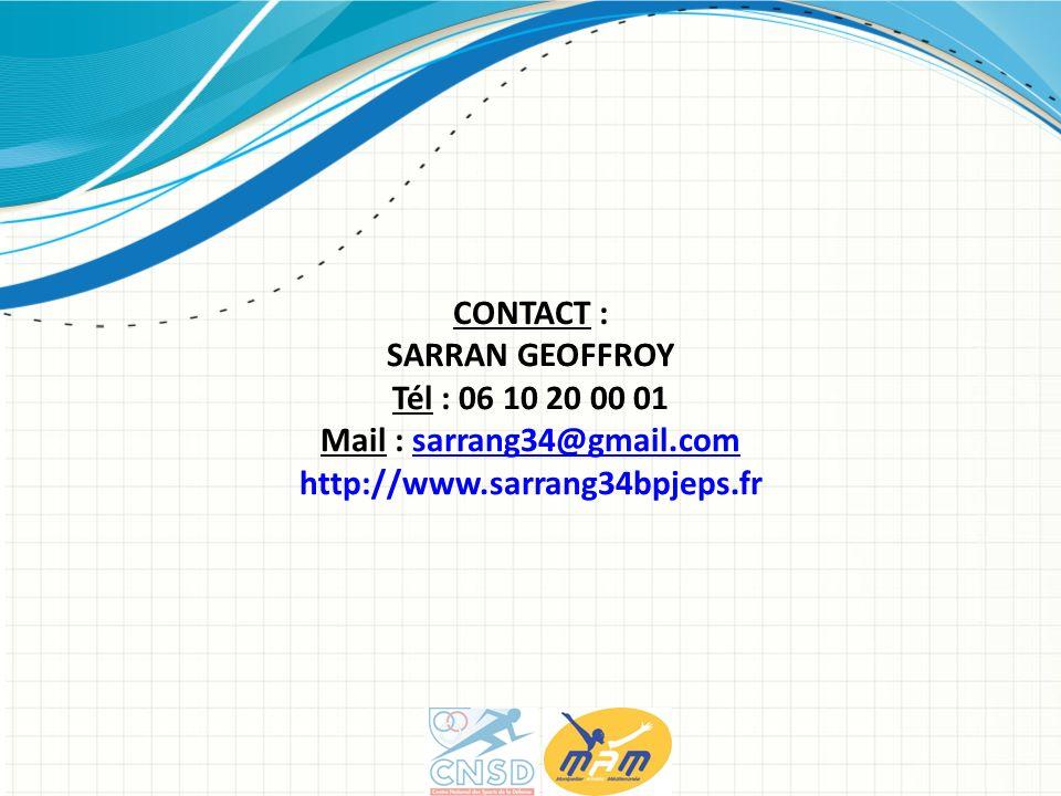 CONTACT : SARRAN GEOFFROY Tél : 06 10 20 00 01 Mail : sarrang34@gmail.comsarrang34@gmail.com http://www.sarrang34bpjeps.fr