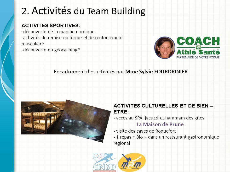 2. Activités du Team Building ACTIVITES SPORTIVES: -découverte de la marche nordique. -activités de remise en forme et de renforcement musculaire -déc