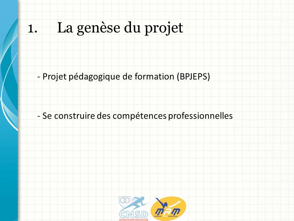 1.La genèse du projet - Projet pédagogique de formation (BPJEPS) - Se construire des compétences professionnelles