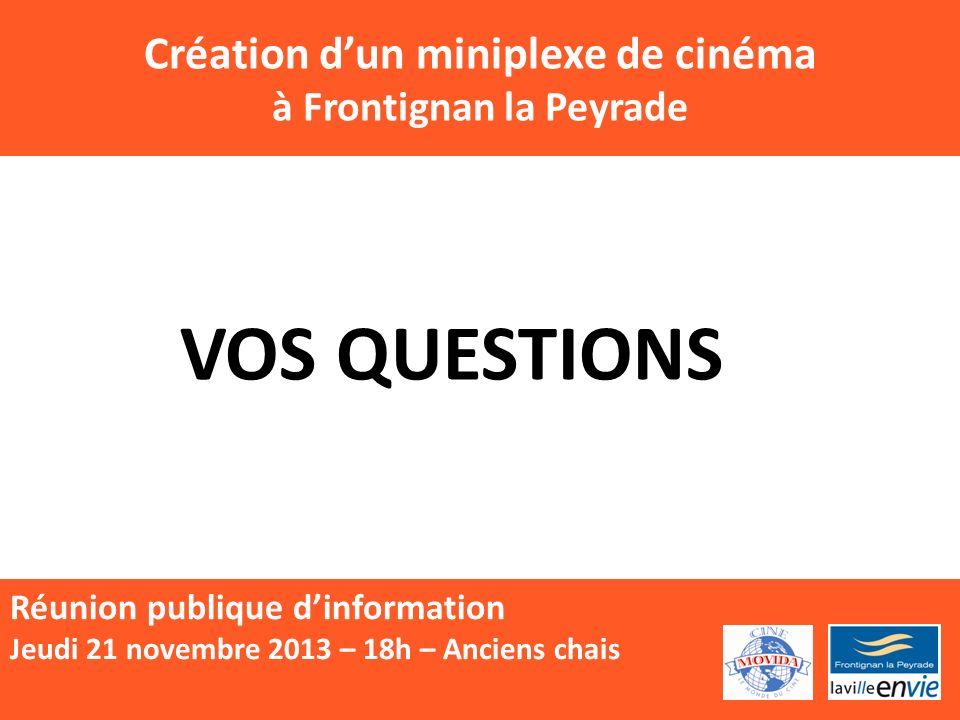 Création dun miniplexe de cinéma à Frontignan la Peyrade Réunion publique dinformation Jeudi 21 novembre 2013 – 18h – Anciens chais VOS QUESTIONS