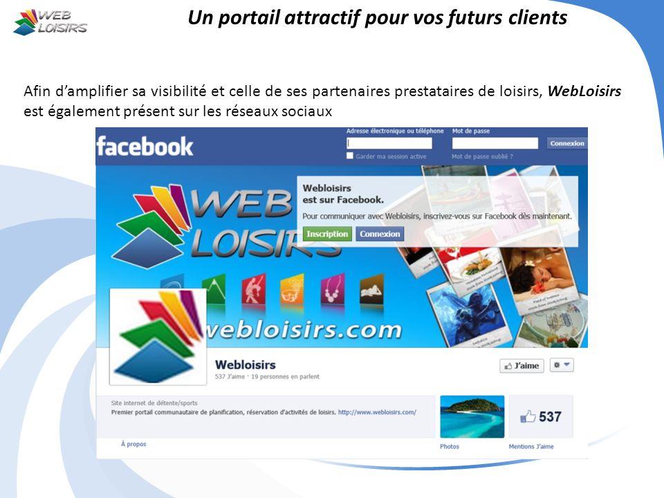 Un portail attractif pour vos futurs clients Afin damplifier sa visibilité et celle de ses partenaires prestataires de loisirs, WebLoisirs est égaleme