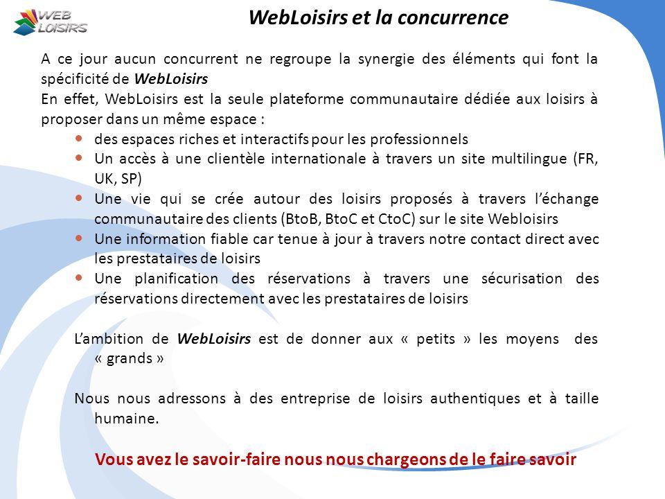 WebLoisirs et la concurrence A ce jour aucun concurrent ne regroupe la synergie des éléments qui font la spécificité de WebLoisirs En effet, WebLoisir