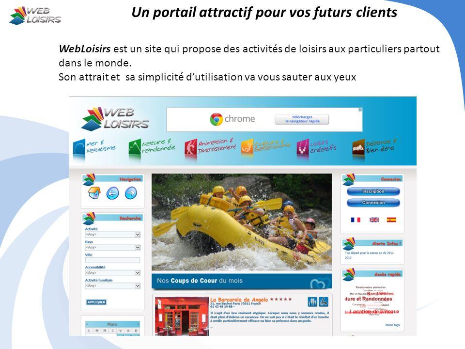 Un portail attractif pour vos futurs clients WebLoisirs est un site qui propose des activités de loisirs aux particuliers partout dans le monde. Son a