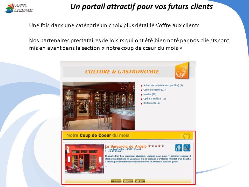 Un portail attractif pour vos futurs clients Une fois dans une catégorie un choix plus détaillé soffre aux clients Nos partenaires prestataires de loi