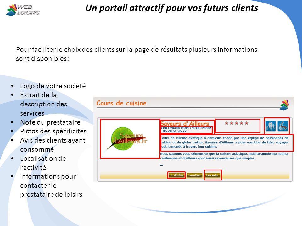 Un portail attractif pour vos futurs clients Pour faciliter le choix des clients sur la page de résultats plusieurs informations sont disponibles : Lo