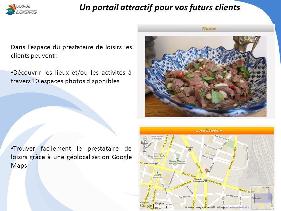 Un portail attractif pour vos futurs clients Dans lespace du prestataire de loisirs les clients peuvent : Découvrir les lieux et/ou les activités à tr