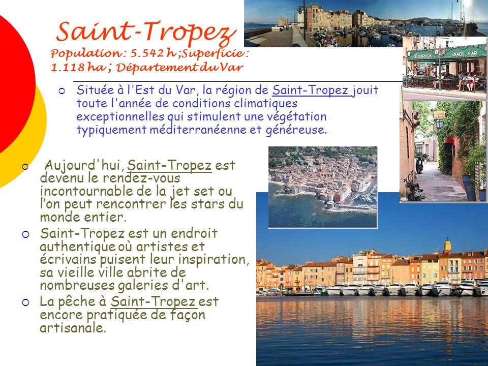 Saint-Tropez Population : 5.542 h ;Superficie : 1.118 ha ; Département du Var Aujourd hui, Saint-Tropez est devenu le rendez-vous incontournable de la jet set ou lon peut rencontrer les stars du monde entier.