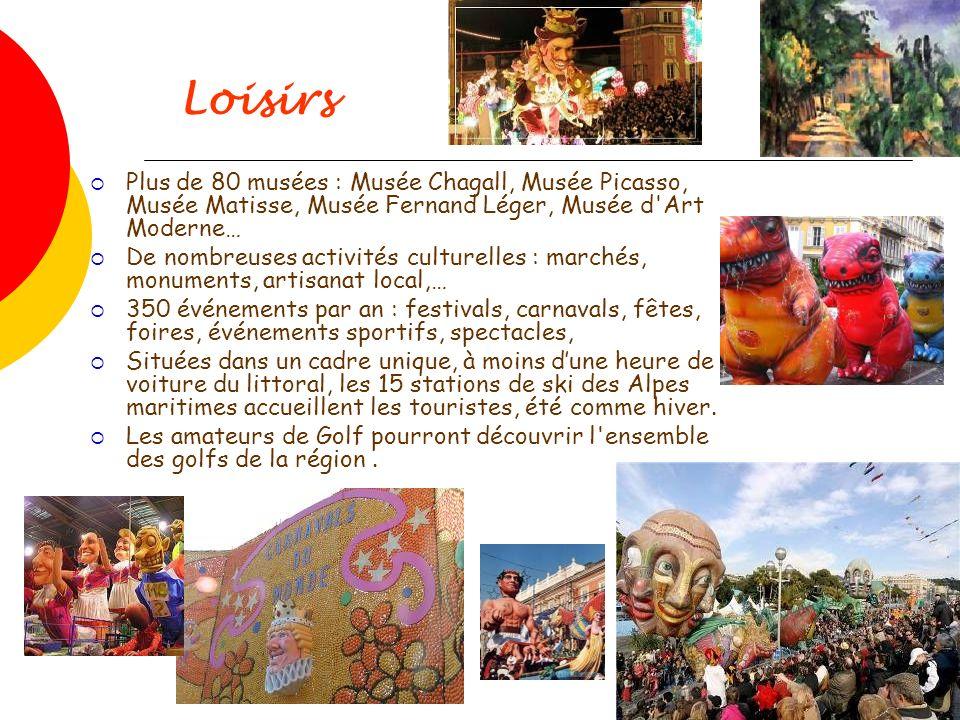 Loisirs Plus de 80 musées : Musée Chagall, Musée Picasso, Musée Matisse, Musée Fernand Léger, Musée d'Art Moderne… De nombreuses activités culturelles