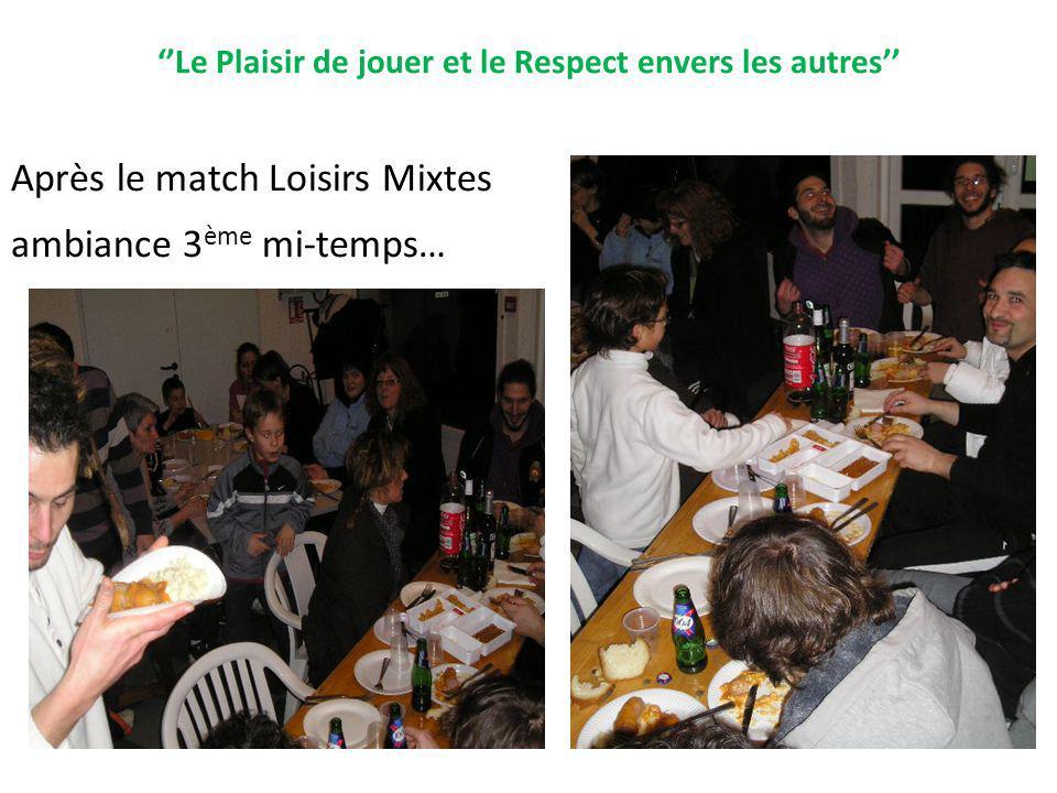 Le Plaisir de jouer et le Respect envers les autres Après le match Loisirs Mixtes ambiance 3 ème mi-temps…