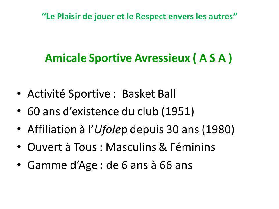 Le Plaisir de jouer et le Respect envers les autres Amicale Sportive Avressieux ( A S A ) Activité Sportive : Basket Ball 60 ans dexistence du club (1