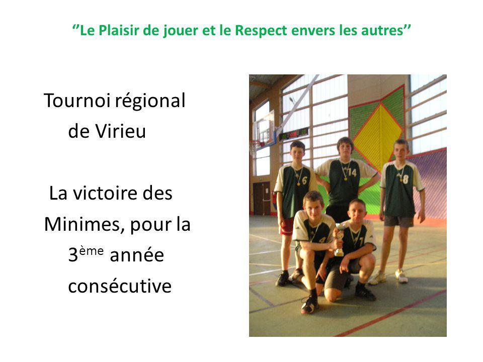 Le Plaisir de jouer et le Respect envers les autres Tournoi régional de Virieu La victoire des Minimes, pour la 3 ème année consécutive