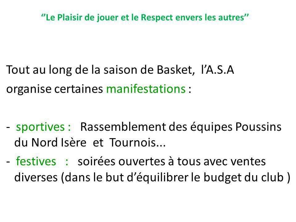 Le Plaisir de jouer et le Respect envers les autres Tout au long de la saison de Basket, lA.S.A organise certaines manifestations : - sportives : Rass