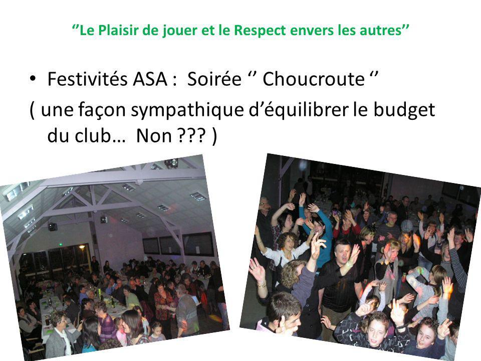 Le Plaisir de jouer et le Respect envers les autres Festivités ASA : Soirée Choucroute ( une façon sympathique déquilibrer le budget du club… Non ???