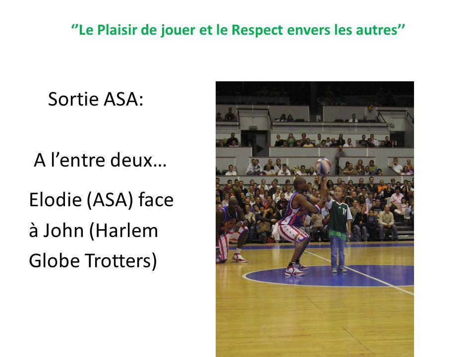 Le Plaisir de jouer et le Respect envers les autres Sortie ASA: A lentre deux… Elodie (ASA) face à John (Harlem Globe Trotters)