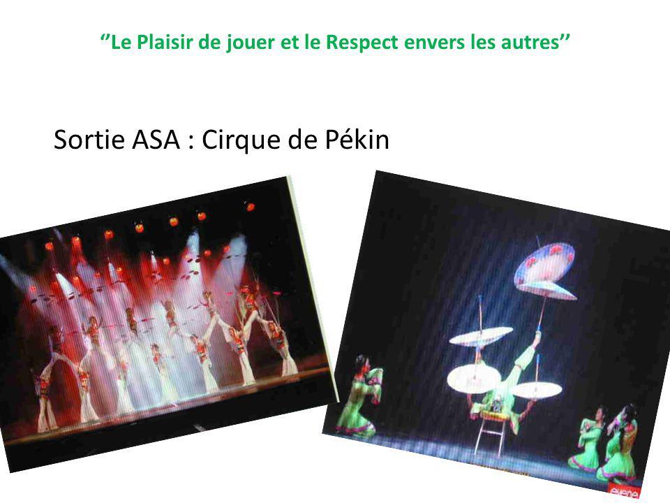 Le Plaisir de jouer et le Respect envers les autres Sortie ASA : Cirque de Pékin