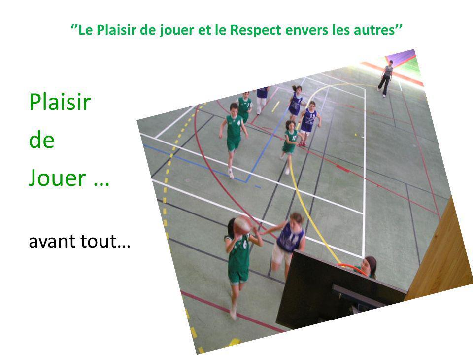 Le Plaisir de jouer et le Respect envers les autres Plaisir de Jouer … avant tout…