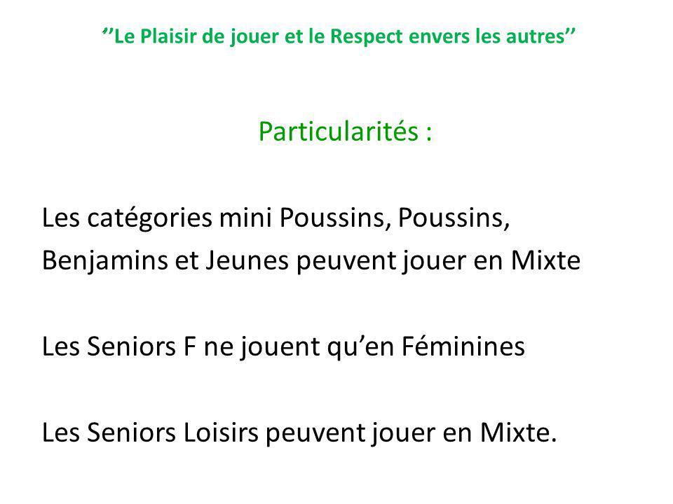 Le Plaisir de jouer et le Respect envers les autres Particularités : Les catégories mini Poussins, Poussins, Benjamins et Jeunes peuvent jouer en Mixt