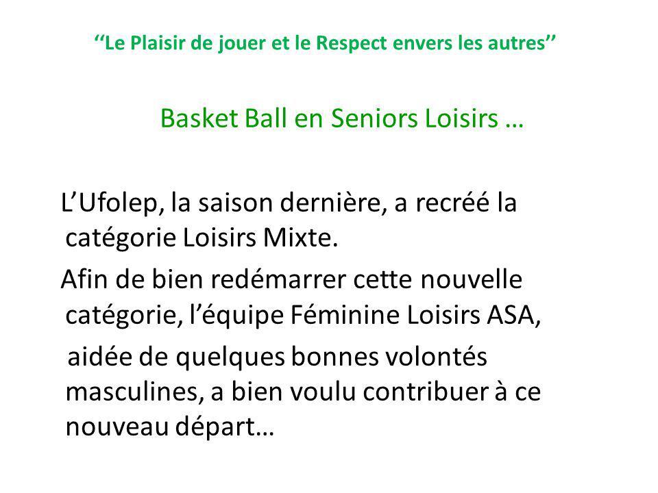 Le Plaisir de jouer et le Respect envers les autres Basket Ball en Seniors Loisirs … LUfolep, la saison dernière, a recréé la catégorie Loisirs Mixte.