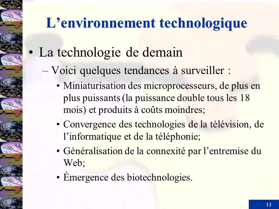 13 Lenvironnement technologique La technologie de demain –Voici quelques tendances à surveiller : Miniaturisation des microprocesseurs, de plus en plu