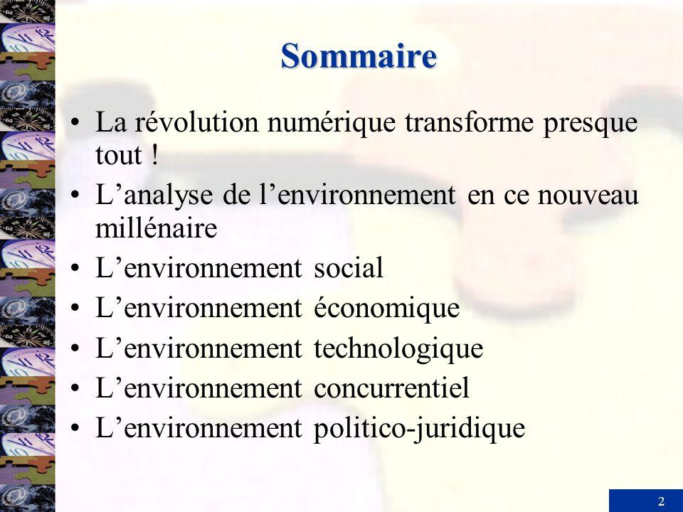 2 Sommaire La révolution numérique transforme presque tout ! Lanalyse de lenvironnement en ce nouveau millénaire Lenvironnement social Lenvironnement