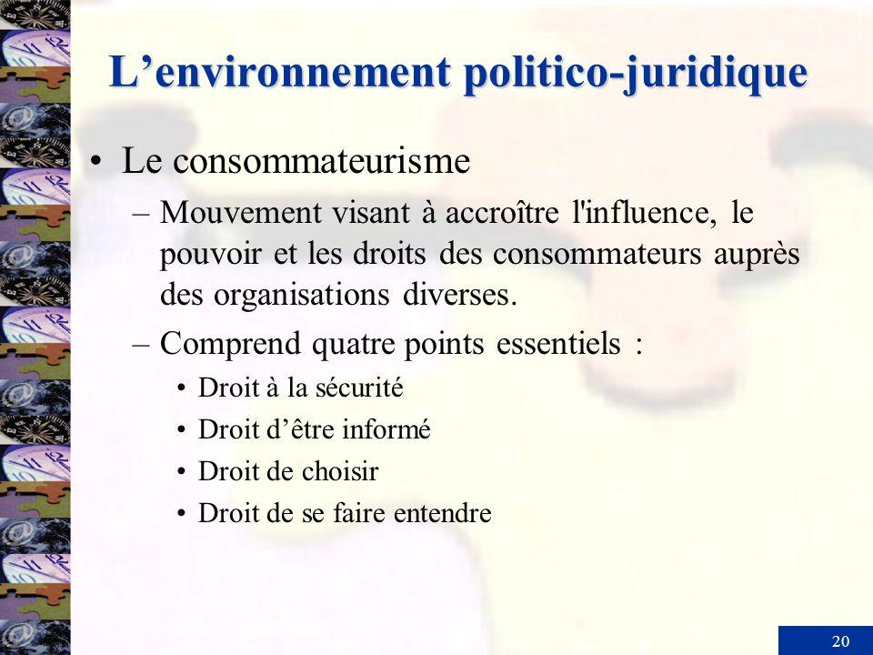 20 Lenvironnement politico-juridique Le consommateurisme –Mouvement visant à accroître l'influence, le pouvoir et les droits des consommateurs auprès