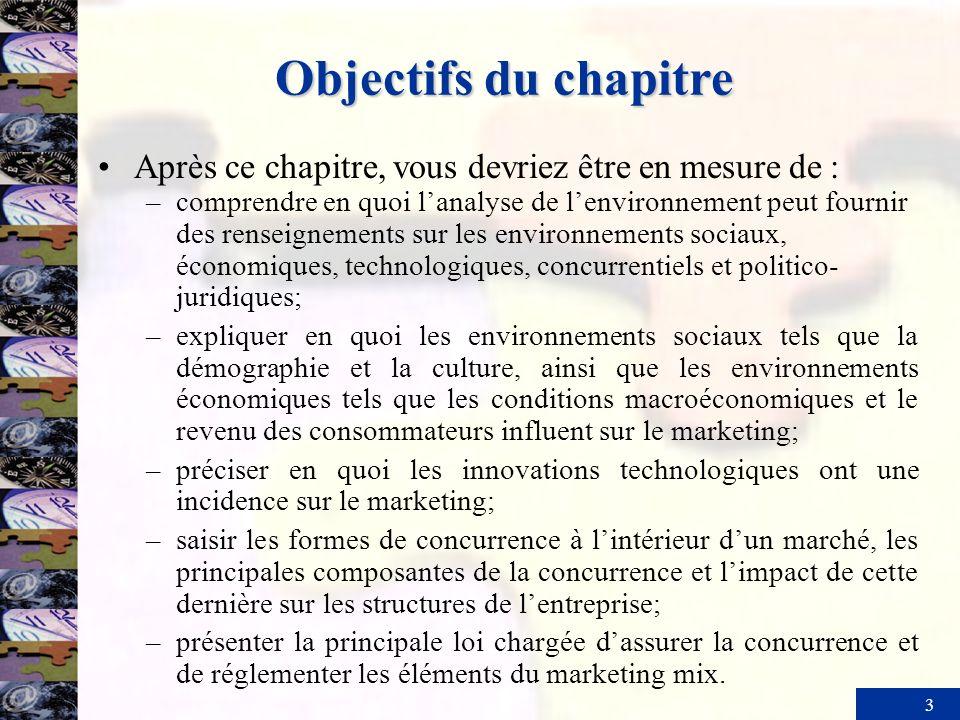 3 Objectifs du chapitre Après ce chapitre, vous devriez être en mesure de : –comprendre en quoi lanalyse de lenvironnement peut fournir des renseignem