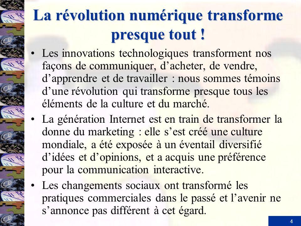 4 La révolution numérique transforme presque tout ! Les innovations technologiques transforment nos façons de communiquer, dacheter, de vendre, dappre