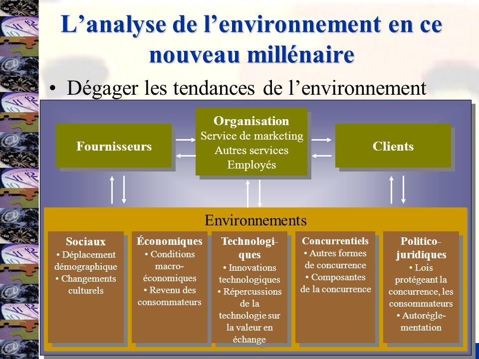 5 Lanalyse de lenvironnement en ce nouveau millénaire Dégager les tendances de lenvironnement Environnements Sociaux Déplacement démographique Changem