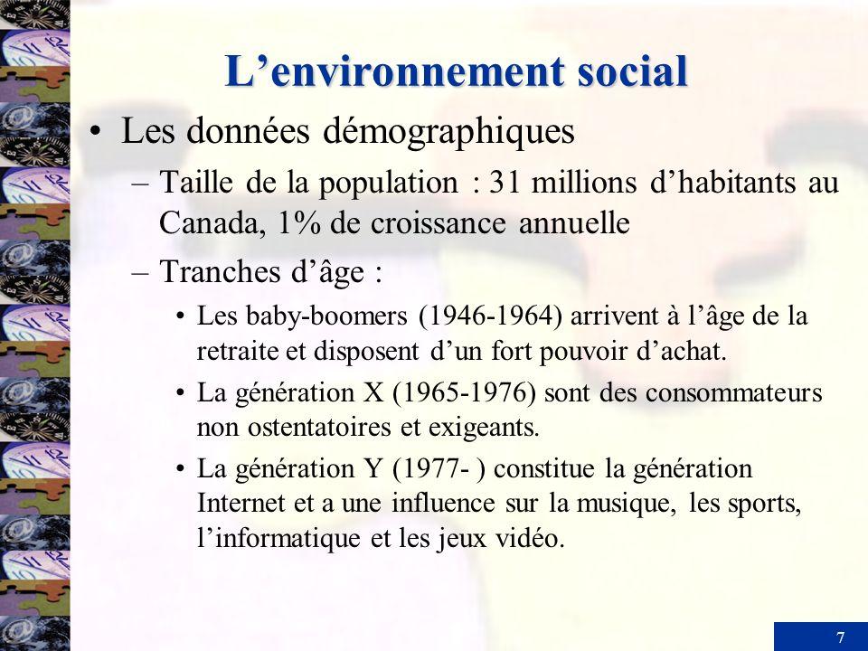 7 Lenvironnement social Les données démographiques –Taille de la population : 31 millions dhabitants au Canada, 1% de croissance annuelle –Tranches dâ