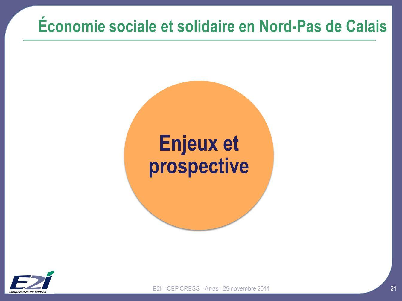 21 Économie sociale et solidaire en Nord-Pas de Calais E2i – CEP CRESS – Arras - 29 novembre 2011 Enjeux et prospective