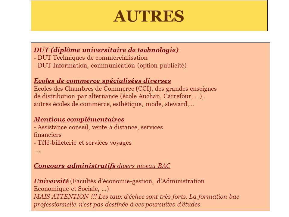 AUTRES DUT (diplôme universitaire de technologie) - DUT Techniques de commercialisation - DUT Information, communication (option publicité) Ecoles de