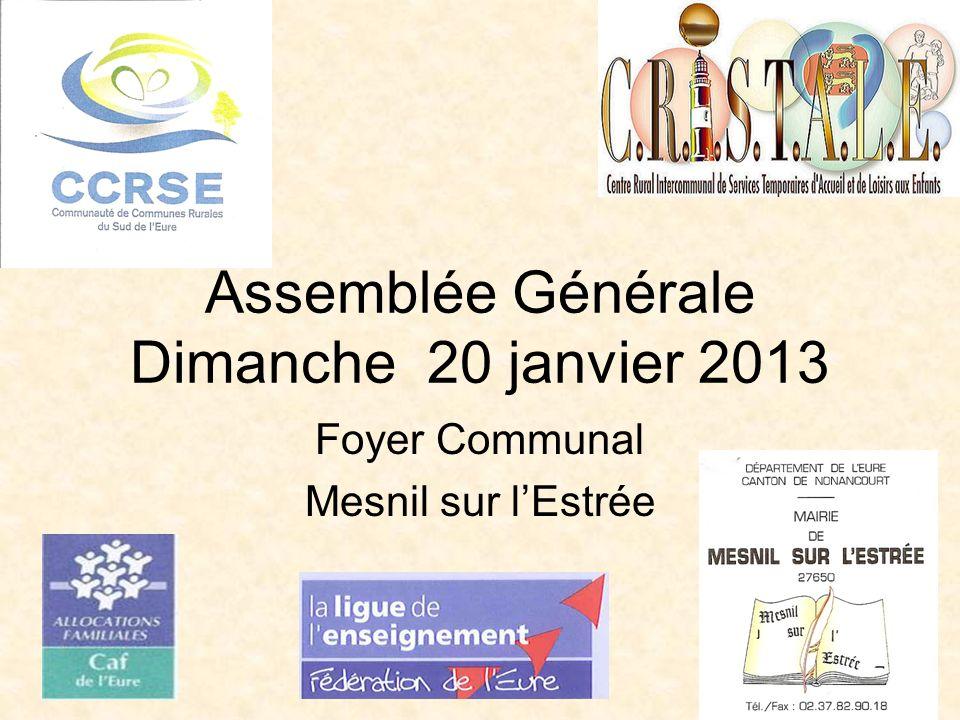 Assemblée Générale Dimanche 20 janvier 2013 Foyer Communal Mesnil sur lEstrée
