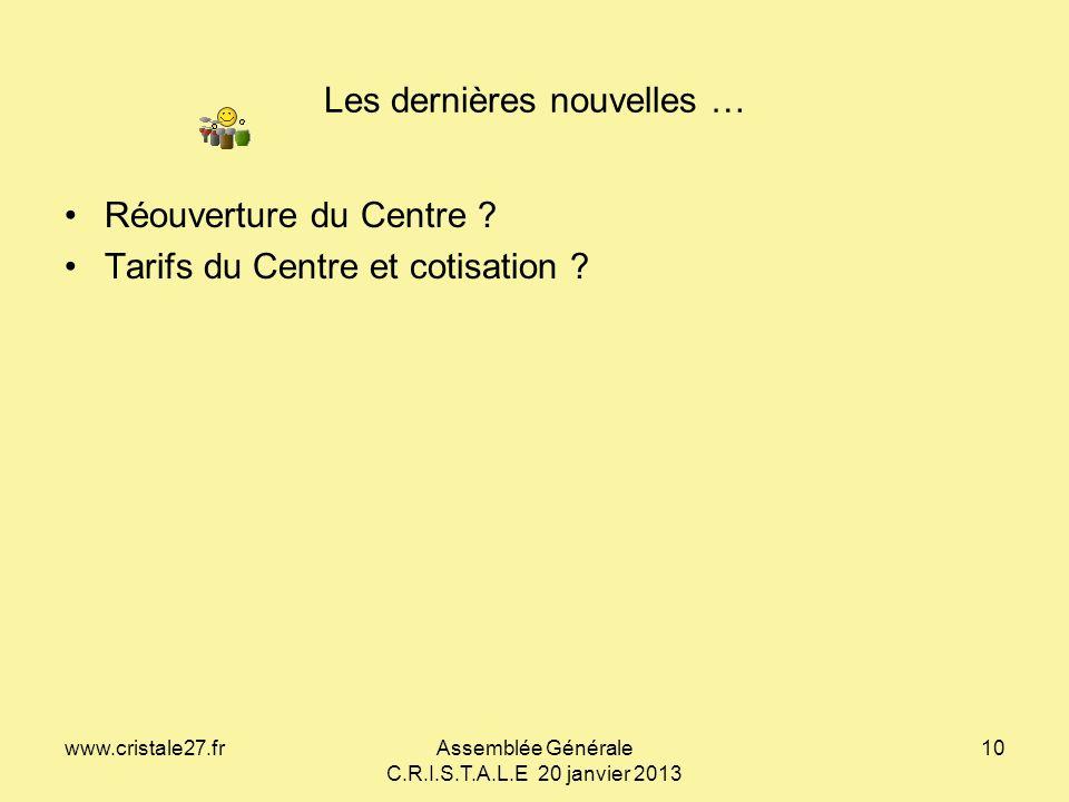 www.cristale27.frAssemblée Générale C.R.I.S.T.A.L.E 20 janvier 2013 10 Les dernières nouvelles … Déclaration CNIL 1398738 du 25/11/2009 Réouverture du