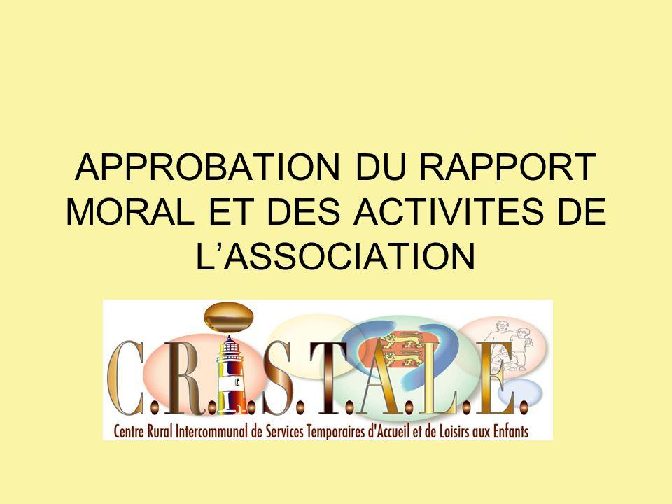 APPROBATION DU RAPPORT MORAL ET DES ACTIVITES DE LASSOCIATION